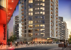 A CGI of the new stadium and homes at Prime Place, Kew Bridge. Visit www.primeplace.co.uk.